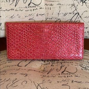 Handbags - Pink faux alligator clutch